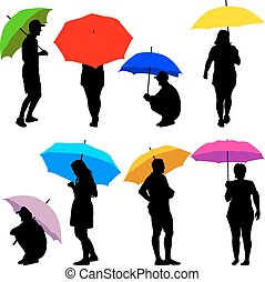 Silhouettes man and woman under umbrella. Vector...