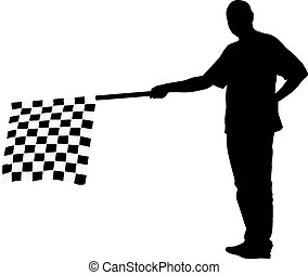 Man waving at the finish of the black white, checkered flag. Vec