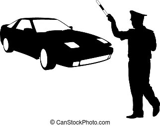 Silhouette, police stopped a car with a rod. Vector illustration