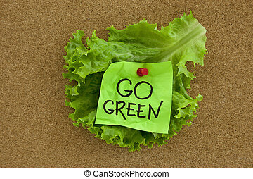 go green concept on bulletin board - go green concept posted...