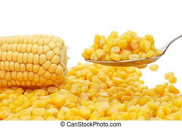 frais, étamé, maïs, cuillère