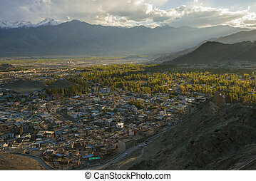 Views of Leh city before sunset fro