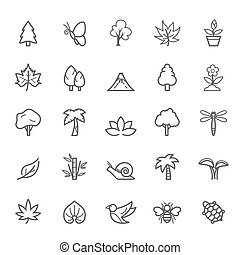 Outline Stroke Natural Icons - Set of Outline Stroke Natural...