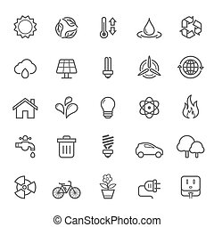 Outline Stroke Ecology Icons - Set of Outline Stroke Ecology...
