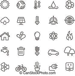 Ecology Icons - Set of Outline Stroke Ecology Icons Vector...