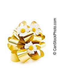 Festive golden bow