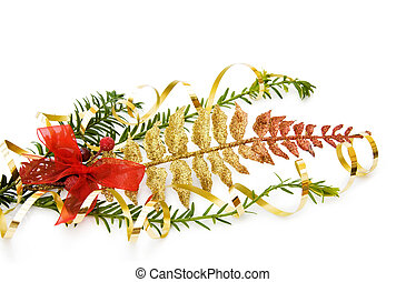 Christmas pine tree branch and decorations - Celebrating...