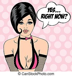 sexy horny woman in comic style, xxx illustration - sexy...