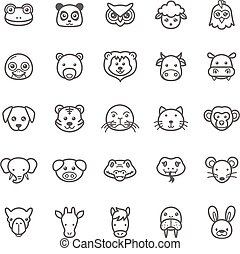 Animal Icons - Set of Outline Stroke Animal Icons Vector...