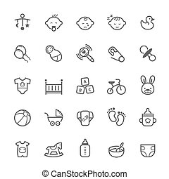 Outline stroke Baby icon - Set of Outline stroke Baby icon...