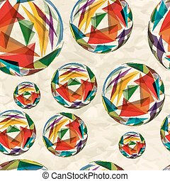 Textile seamless pattern of bulk balls with texture triangles on