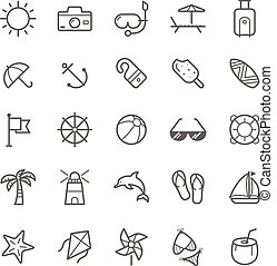 Beach icons - Set of Outline stroke Beach icons Vector...