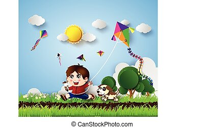 kid playing with kite