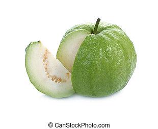 goiaba, (tropical, fruit), isolado, ligado, branca, fundo,