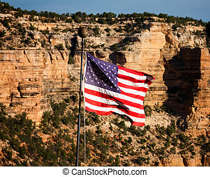 American Flag in the Grand Canyon - Fluttering American Flag...