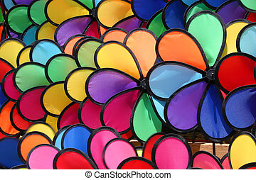colourful pinwheels in a market in Hong Kong