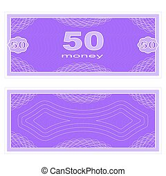 Play money. Fifty - Game money. Set on a white background....