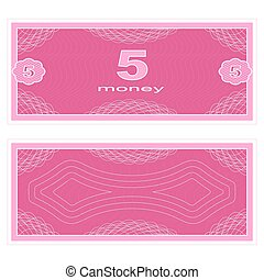 Play money. Five - Game money. Set on a white background....