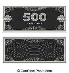 Play money Five hundred - Game money Set on a white...