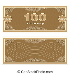 Play money One Hundred - Game money Set on a white...