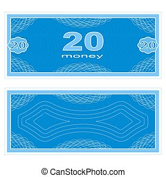Play money. Twenty - Game money. Set on a white background....