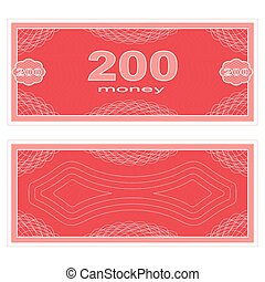 Play money. Two hundred - Game money. Set on a white...