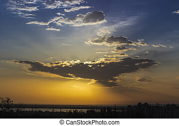 Sky with the sun behind a cloud - Morning sky with clouds,...