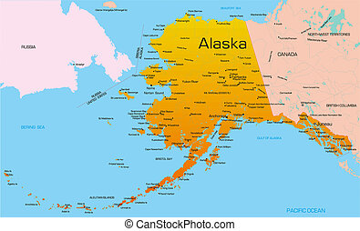 Alaska  - color map of Alaska state. Usa.