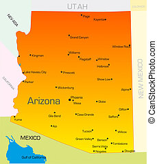 Arizona - color map of Arizona state Usa