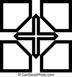 abstract black on transparent cross window