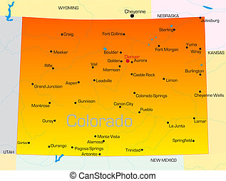 Colorado - color map of Colorado state Usa