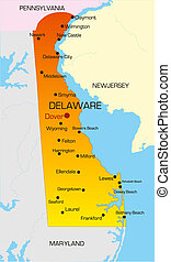 Delaware  - color map of Delaware state. Usa