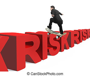 Businessman skating on money skateboard across red risk 3D...