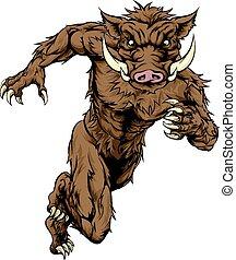 Boar character running