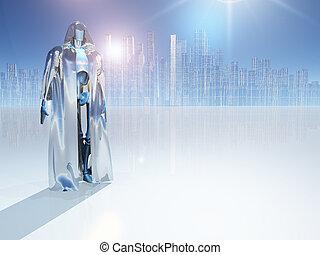 robô, em, manto, antes de, cidade,