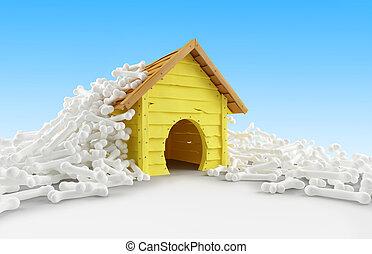 dog house many bones on a white background