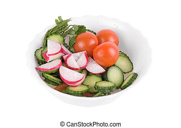 Vegeterian Salad - Salad from tomatoes cucumbers and radish...