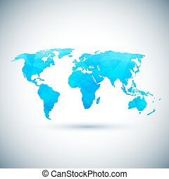 Low poly blue vector world map Vector illustration