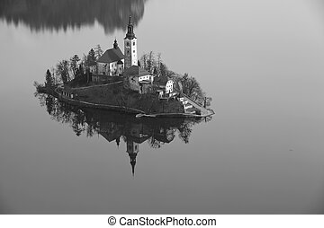 Lake Bled - Black and white image of Lake Bled with St Marys...