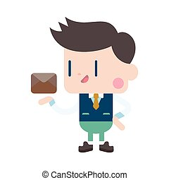 Character illustration design. Businessman sending letter cartoon,eps