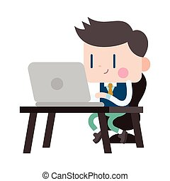 Character illustration design Businessman using computer...