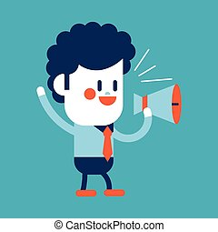 Character illustration design Businessman loudspeakers...