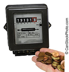 electricity meter and the hand full of European currencies -...