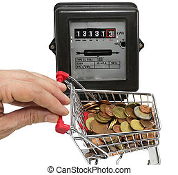hand pushes a cart of money to pay the electricity bills -...