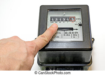 finger and 13 number on the electricity meter - finger...