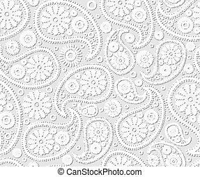 seamless paisley ornament black white vector floral...