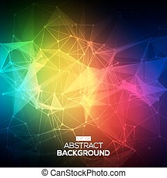 Abstract Low poly, Molecule And Communication Background. Abstract colorfull bright technology vector background. Connection structure. Vector science background. Polygonal vector background.