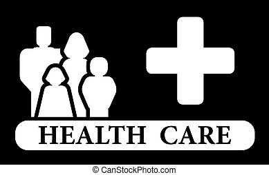 health care icon with family and medical cross siolhouette