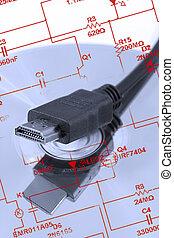 HDMI, enchufe, y, blu-ray,