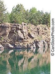 orilla, río, rocoso